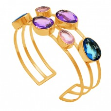 Oval Amethyst Topaz Quartz Gemstone 925 Sterling Silver Gold Plated Bangle