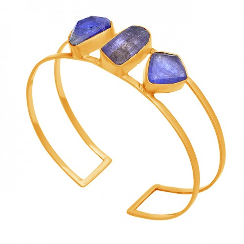 Blue Kyanite Rough Gemstone 925 Sterling Silver Gold Plated Bangle Jewelry