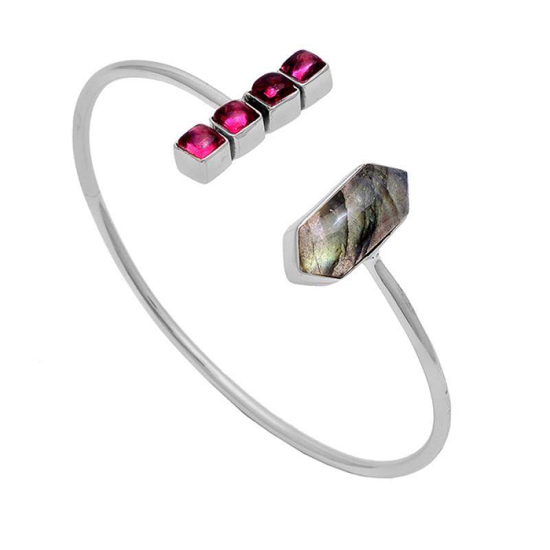 Labradorite Pink Tourmaline Gemstone 925 Silver Gold Plated Bangle Jewelry