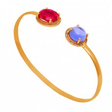 Ruby Blue Chalcedony Gemstone 925 Sterling Silver Gold Plated Bangle Jewelry