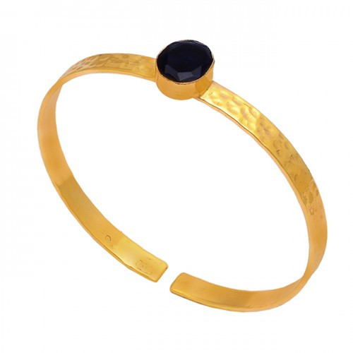 Oval Shape Black Onyx Gemstone 925 Sterling Silver Gold Plated Bangle Jewelry