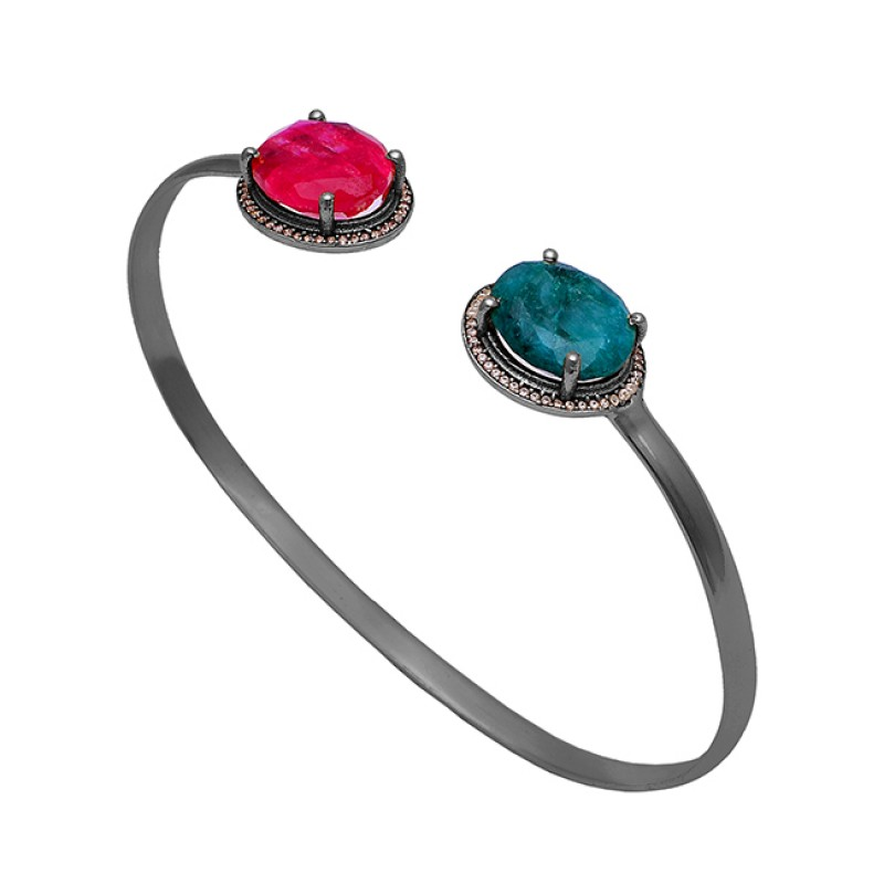 Ruby Emerald Gemstone 925 Sterling Solid Silver Gold Plated Bangle Jewelry