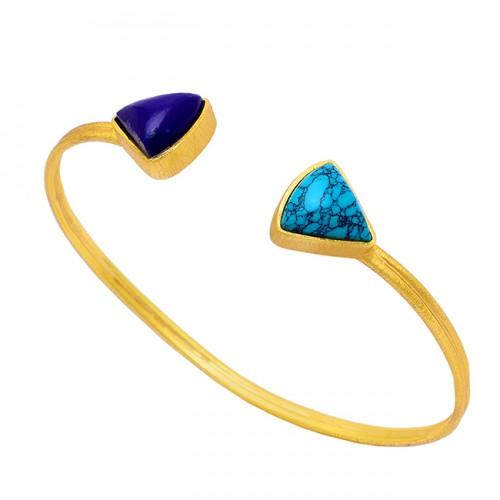 Lapis Lazuli Turquoise Gemstone 925 Sterling Silver Gold Plated Bangle Jewelry