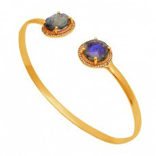 Round Shape Labradorite Gemstone 925 Sterling Silver Gold Plated Bangle