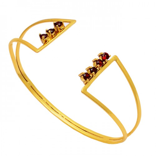 Garnet Round Shape Gemstone 925 Sterling Silver Gold Plated Bangle Jewelry
