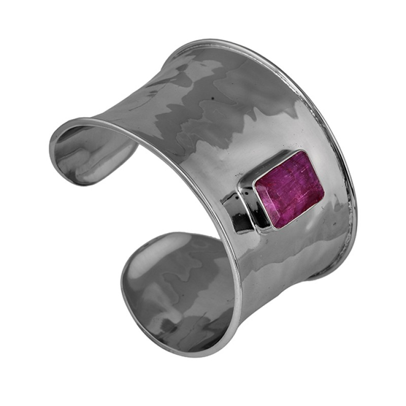 Rectangle Shape Ruby Gemstone 925 Sterling Silver Gold Plated Bangle Jewelry