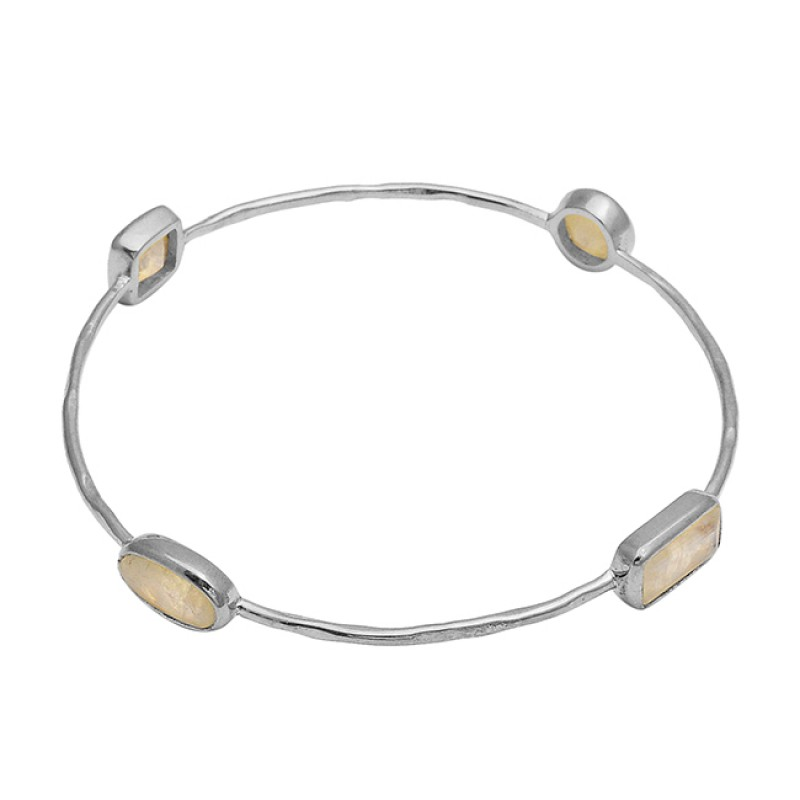 Blue Shine Rainbow moonstone sterling silver gold plated bangle jewelry