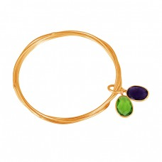 Oval Peridot Amethyst Gemstone 925 Sterling Silver Designer Bangle Jewelry