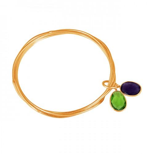 Oval Peridot Amethyst Gemstone 925 Sterling Silver Designer Bangle Jewelry