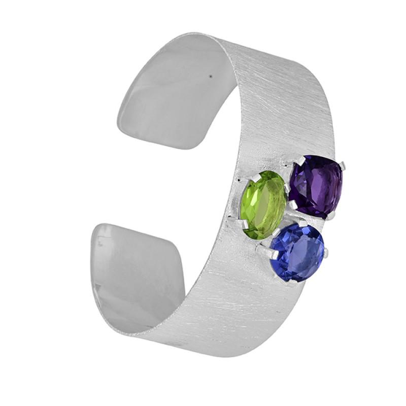 Peridot Amethyst Quartz Gemstone 925 Sterling Silver Bangle Jewelry