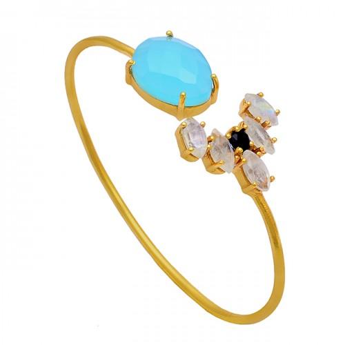 Chalcedony Moonstone Onyx Gemstone 925 Silver Gold Plated Bangle Jewelry