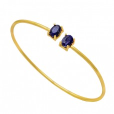 Oval Shape Blue Sapphire Gemstone 925 Sterling Silver Gold Plated Bangle