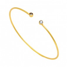 Round Shape Blue Topaz Gemstone 925 Sterling Silver Gold Plated Bangle