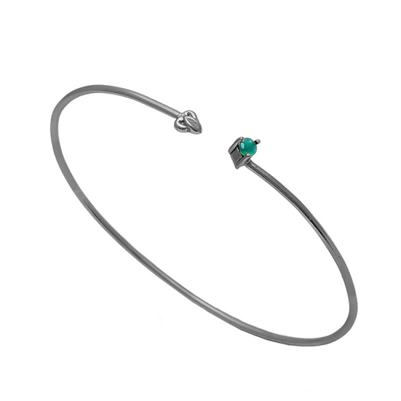 Round Shape Green Onyx Gemstone 925 Sterling Silver Gold Plated Bangle