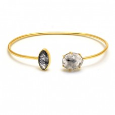 Black Rutile Quartz Gemstone 925 Sterling Silver Jewelry Bangle