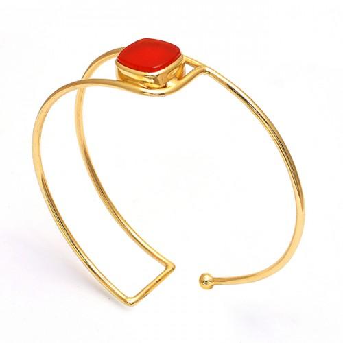 Square Shape Carnelian Gemstone 925 Silver Jewelry Bangle
