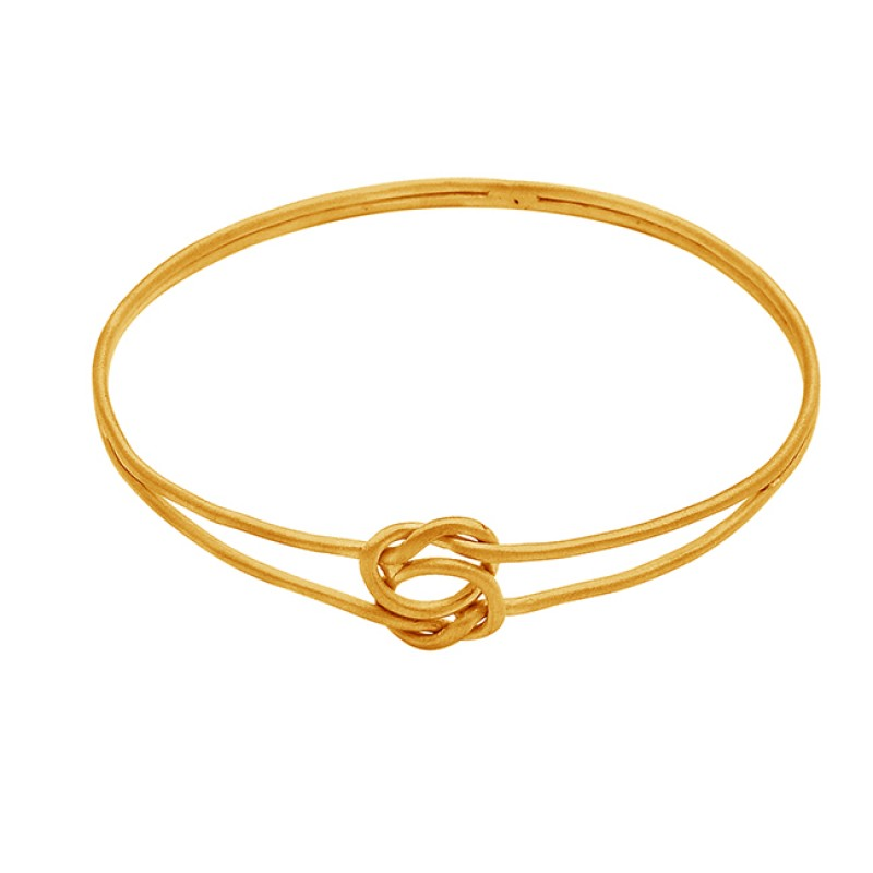 925 Sterling Silver Gold Plated Plain Designer Handmade Bangle Jewelry