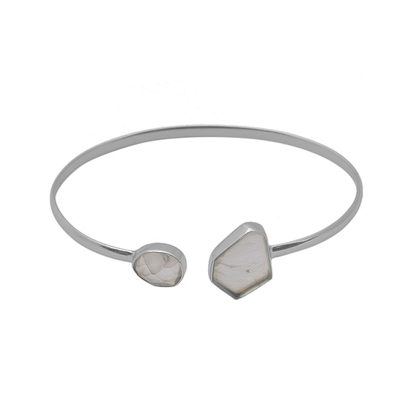 Prehnite Gemstone 925 Sterling Silver Jewelry Gold Plated Bangle