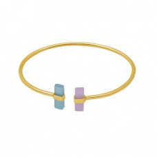Rectangle Shape Chalcedony Gemstone 925 Silver Jewelry Bangle