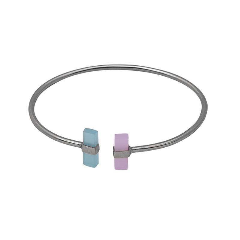 Rectangle Shape Chalcedony Gemstone 925 Silver Jewelry Bangle