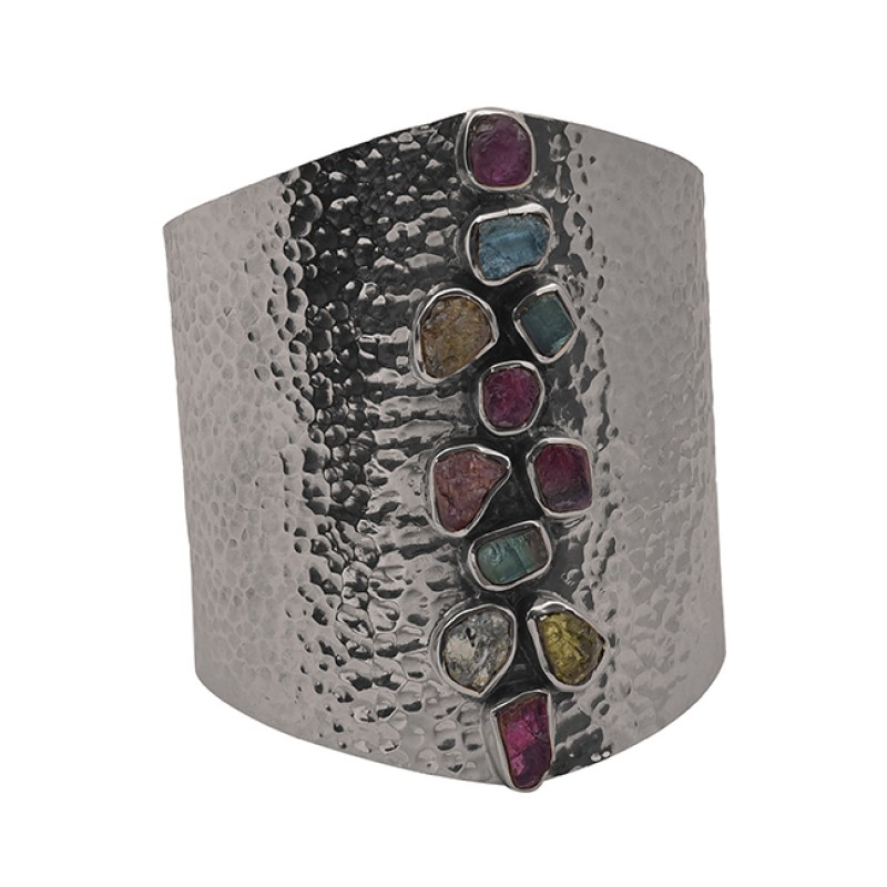 Multi Color Raw Material Gemstone 925 Silver Jewelry Gold Plated Bangle