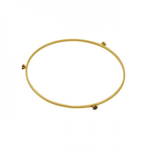 Round Shape Black Onyx Gemstone 925 Silver Jewelry Gold Plated Bangle