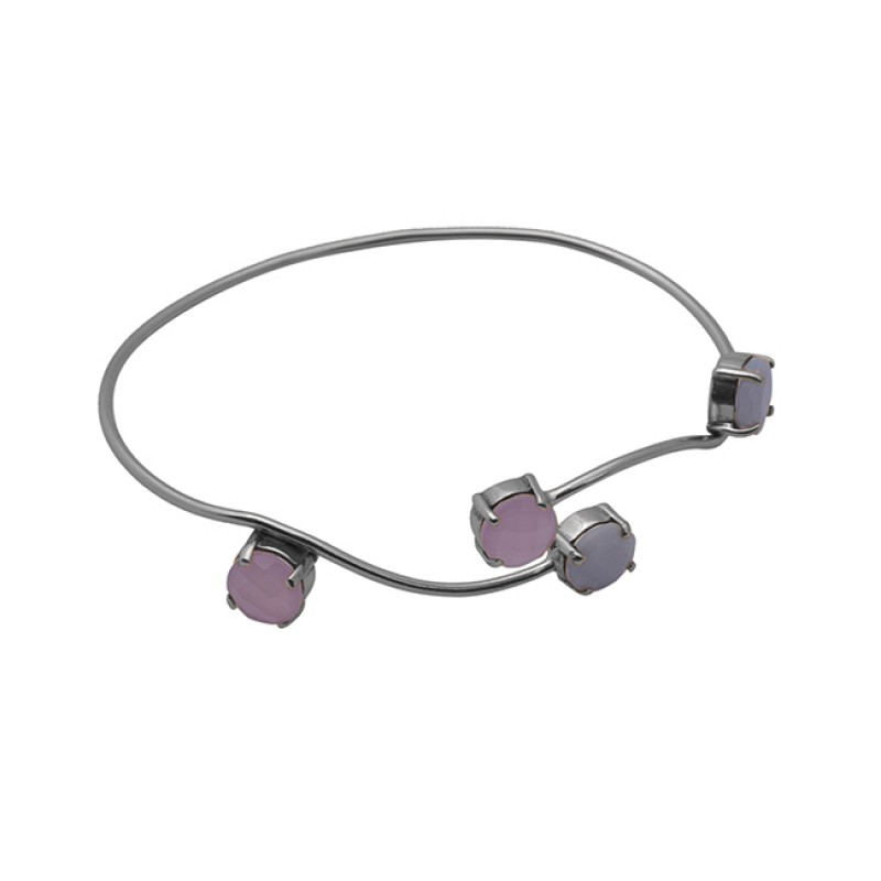 Round Shape Gemstone 925 Sterling Silver Jewelry Gold Plated Bangle