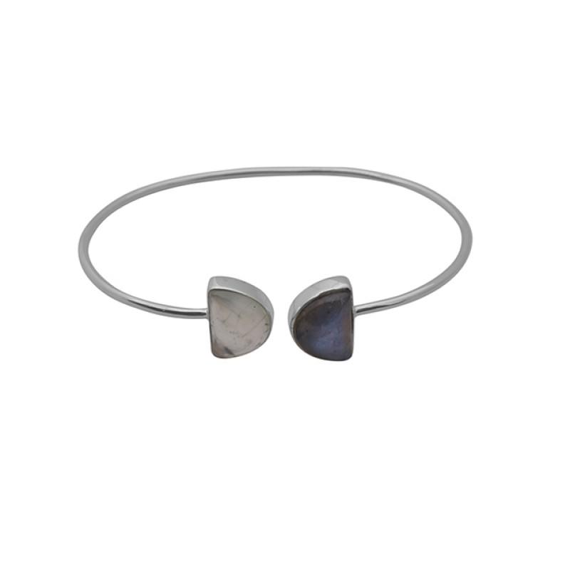 Labradorite Prehnite Gemstone 925 Sterling Silver Jewelry Bangle