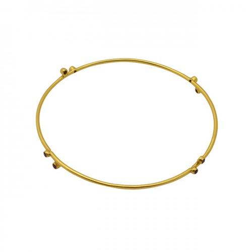 Round Shape Pink Quartz Gemstone 925 Silver Gold Plated Jewelry Bangle
