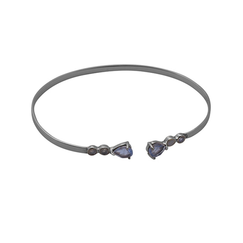925 Sterling Silver Jewelry Pear Round Shape Gemstone Bangle