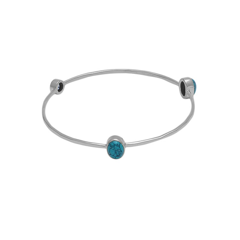 turquoise Blue Topaz Gemstone 925 Sterling Silver Jewelry Bangle