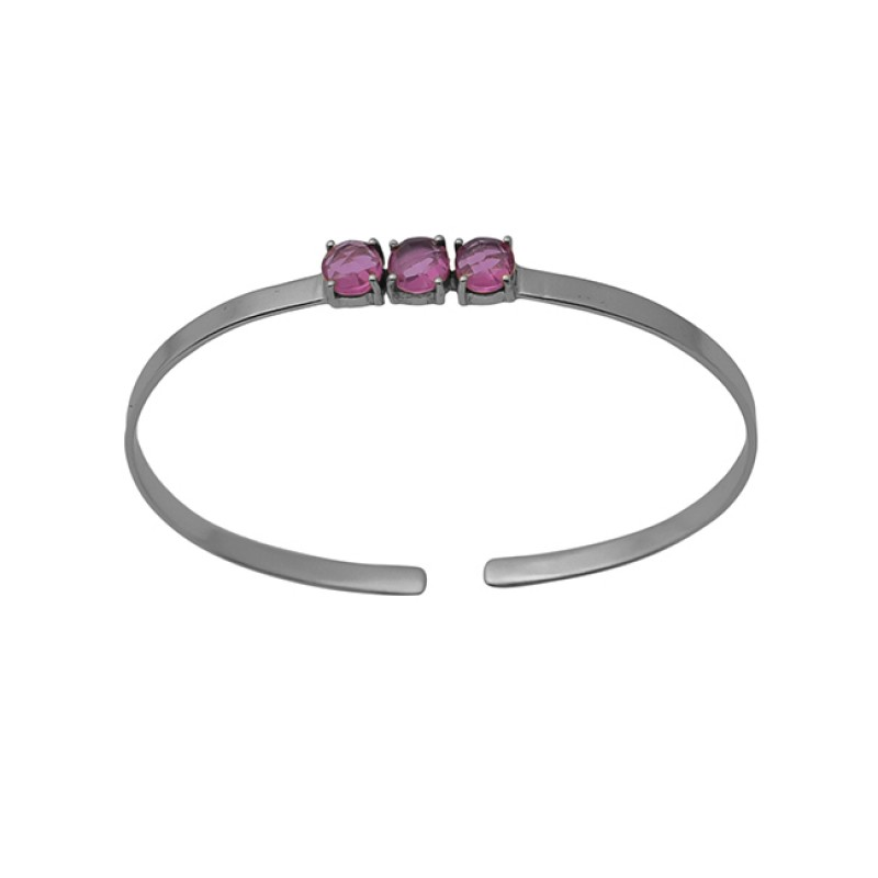 Prong Set Round Pink Quartz Gemstone 925 Sterling Silver Jewelry Bangle