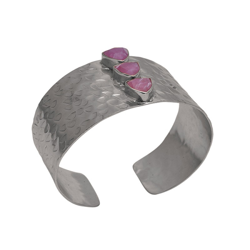 Ruby Gemstone 925 Sterling Silver Jewelry Gold Plated Hammered Bangle