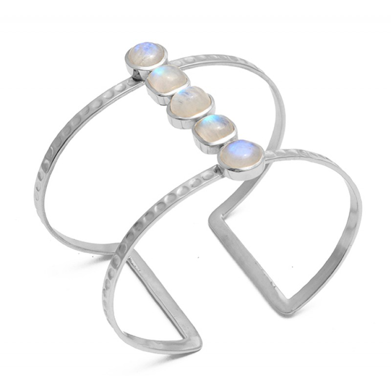 Rainbow Moonstone 925 Sterling Silver Jewelry Gold Plated Bangle