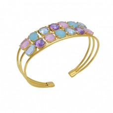925 Sterling Silver Jewelry Multi Color Gemstone Gold Plated  Bangle
