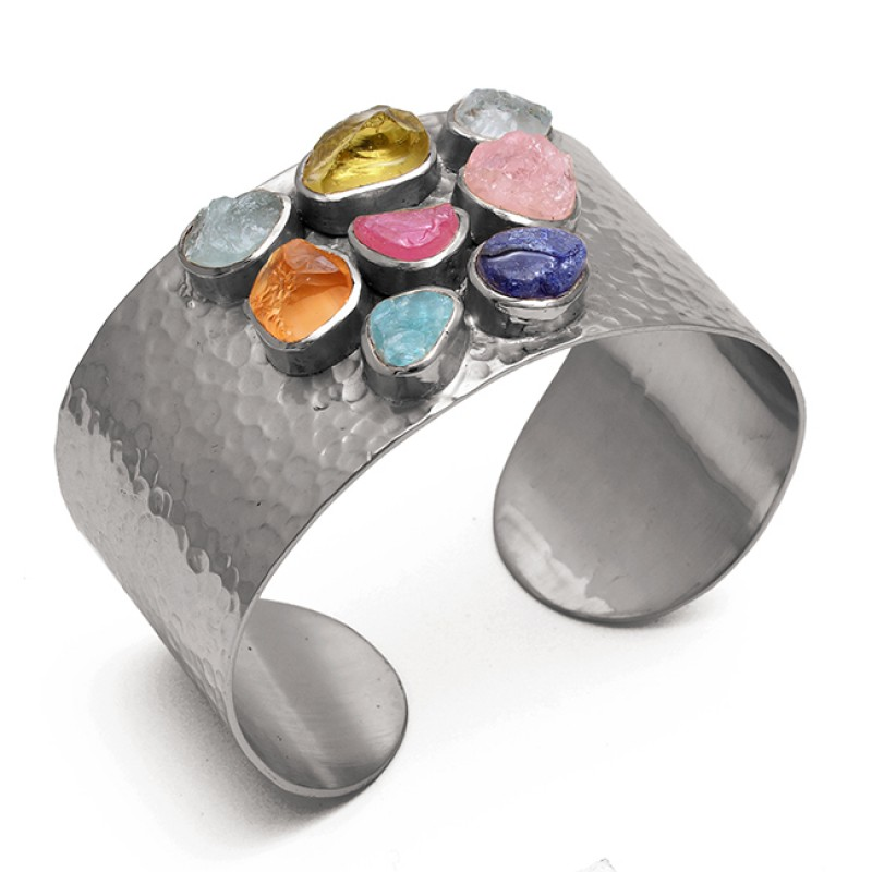 Multi Color Rough Gemstone 925 Sterling Silver Jewelry Bangle