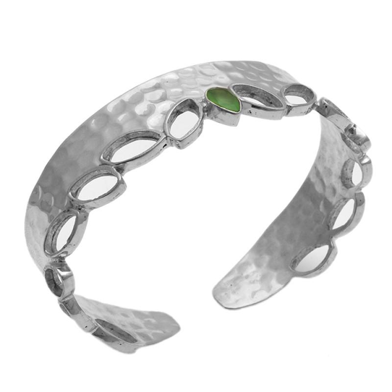 Pear Shape Prehnite Chalcedony Gemstone 925 Silver Jewelry Bangle