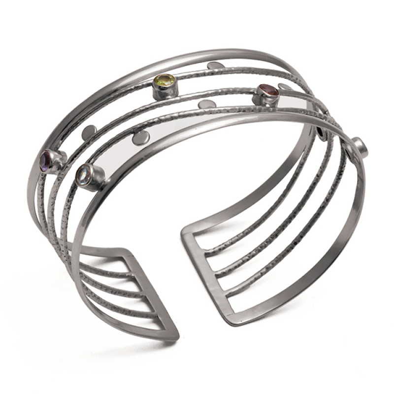Round Shape Multi Color Gemstone 925 Sterling Silver Jewelry Bangle