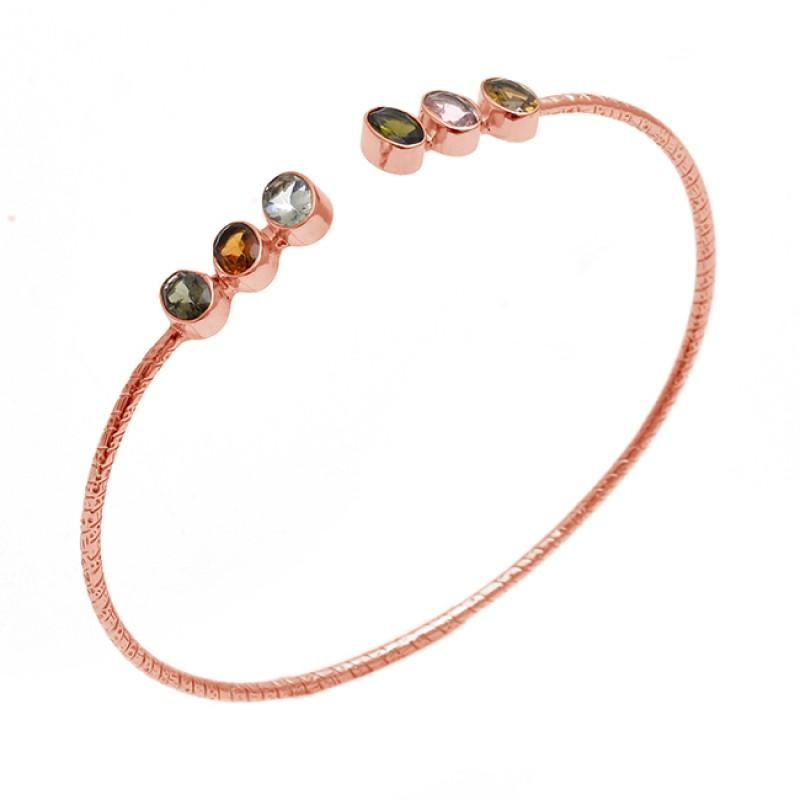 Oval Shape Multi Color Gemstone 925 Sterling Silver Jewelry Bangle