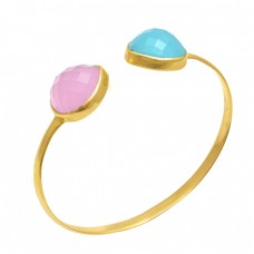 Pear Shape Chalcedony Gemstone 925 Sterling Silver Jewelry Bangle