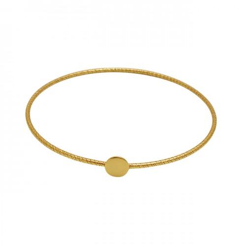 Plain Handmade Designer Gold Plated 925 Silver Jewelry Bangle