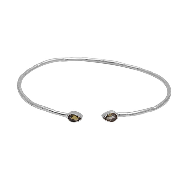 Pear Shape Smoky Quartz Gemstone 925 Silver Gold Plated Bangle