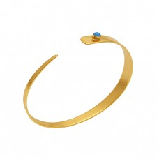 Round Shape Turquoise Gemstone 925 Silver Jewelry Bangle
