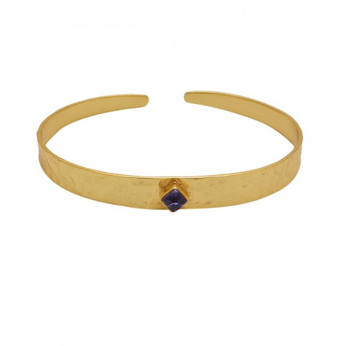Square Shape Amethyst Gemstone 925 Silver Jewelry Bangle