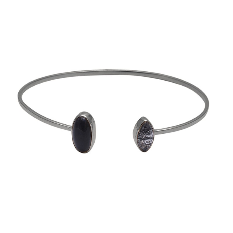 925 Silver Jewelry Onyx Black Rutile Quartz Gemstone Gold Plated Bangle