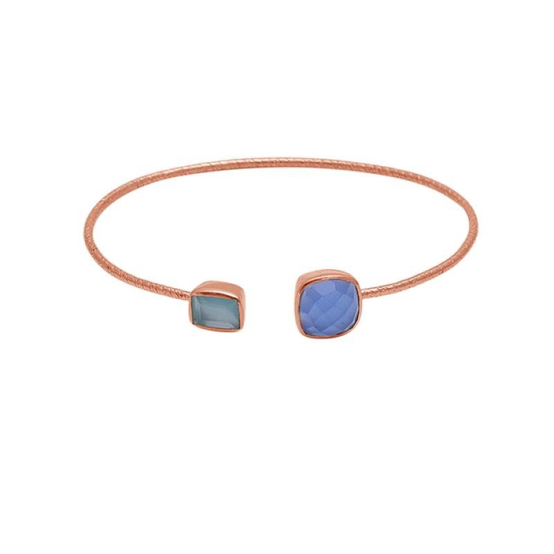 Aqua Blue Color Chalcedony Gemstone 925 Silver Jewelry Bangle