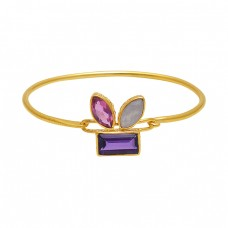 925 Sterling Silver Jewelry Gemstone Gold Plated Wholesale Bangle