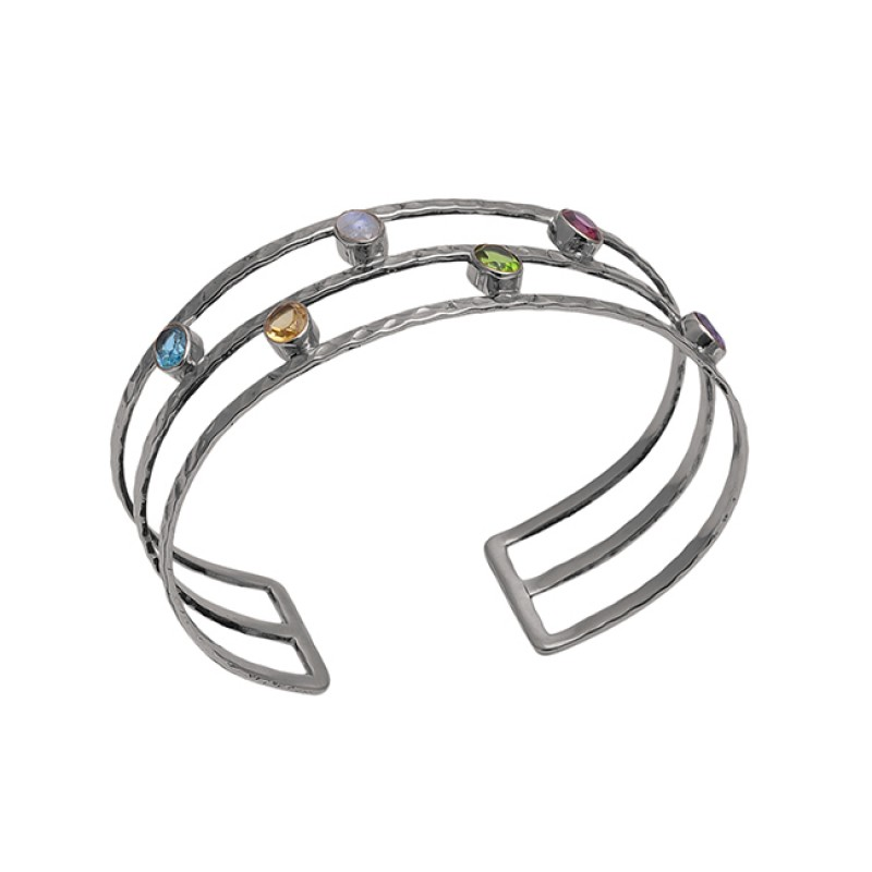 Faceted Oval Shape Multi Color Gemstone 925 Silver Gold Plated Bangle