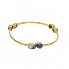 Pear Shape Gemstone 925 Sterling Silver Jewelry Gold Plated Bangle