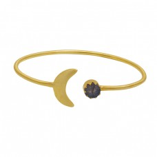 Round Labradorite Gemstone 925 Sterling Silver Gold Plated Bangle
